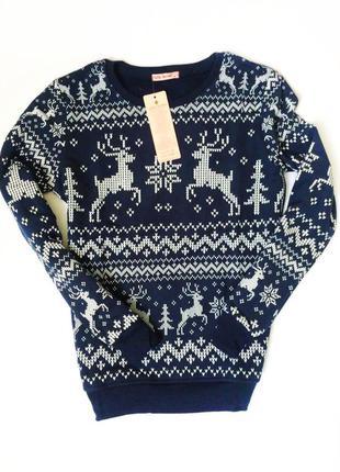 Новогодний подарок ! свитер с оленями на флисе светер з оленями доставка киев