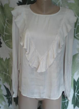 One two luxzuz блуза блузка рюшами атлас атласная шелк модал в полоску