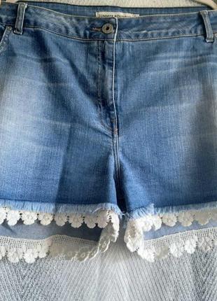 Женские джинсовые шорты внизу с кружевом. большой размер, батал.