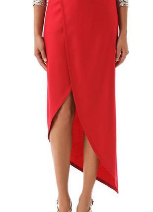 Ярко-красная юбка из тонкой шерсти
