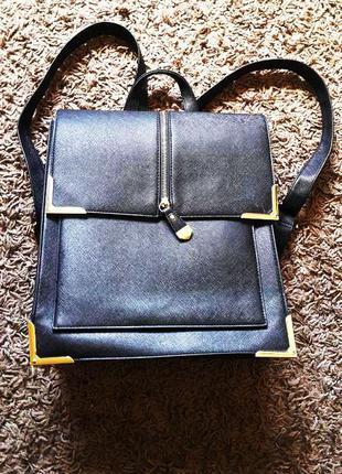 Квадратный чёрный рюкзак сумка new look