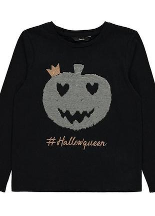 Лонгслив с пайетками перевёртыш, реглан, кофта на хеллоуин