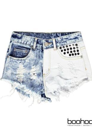 Новые драные джинсовые шорты с заклепками высокая посадка  от бренда boohoo размер s