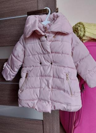Пальто на синтепоне   zara 2-3 года  в цвете пудра стёганное