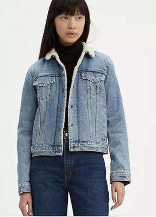 Куртка джинсова жіноча шерпа levi's original trucker jacket куртка женская джинсовая левис  оригінал