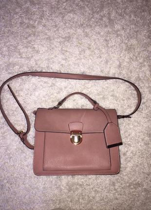 Кожаная(эко) сумка,портфель,кейс,на длинной ручке,на короткой ручке,грязно-розового цвета