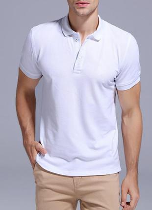 Белая футболка поло тенниска 100% хлопок jhk
