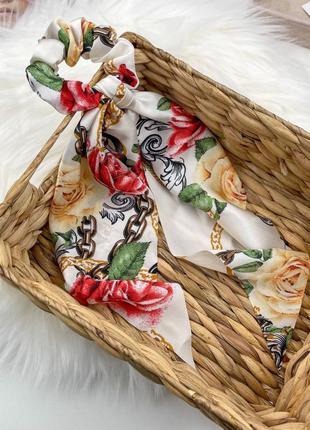 Резинки с платком 🤩 резинка-платок , твилли для волос, твіллі для волосся квітковий принт
