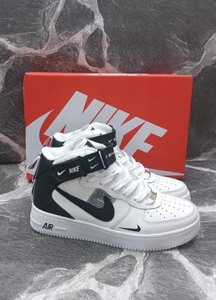 Подростковые термо кроссовки nike air force кожаные, белые