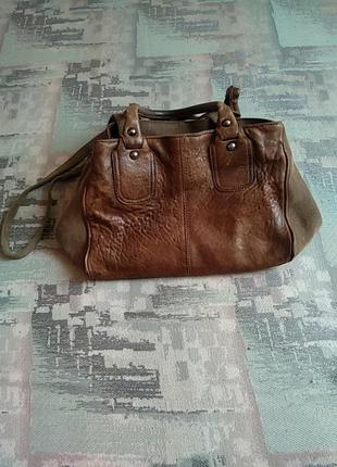 Натуральная толстая кожа очень стильная качественная кожаная сумка дорогого бренда marella оригинал