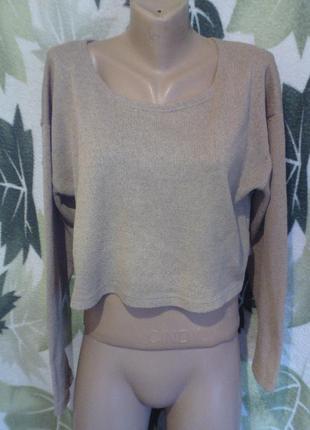 Michelle укороченный свитер кофта кофточка оверсайз в однотoнный цвет