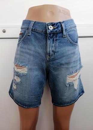Шорты джинсовые бойфренды синие голубые с потертостями дырками