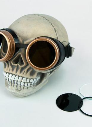 Очки гогглы стимпанк  паропанк черные с золотым +подарок