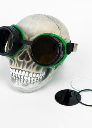 Очки авиаторы гогглы стимпанк паропанк черные с зеленым + подарок