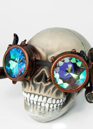 Очки гогглы с подсветкой стимпанк калейдоскоп античная медь + подарок