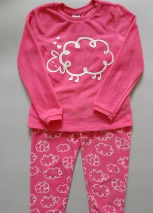 Пижама для девочки, флис, теплая, 116см, 5-6лет, ovs, италия