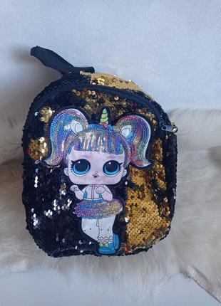 Блестящий рюкзак рюкзачек лола в пайетках