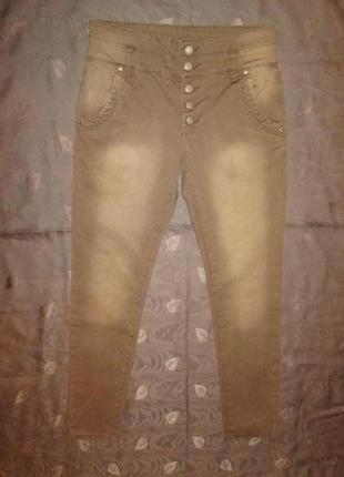 Джинсы famous штаны с высокой посадкой