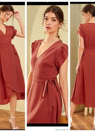 Платье на запах с коротким рукавом и поясом