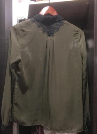 Блуза шыфон кружево хаки