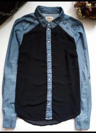 Стильная комбинированная блуза, рубашка 💙