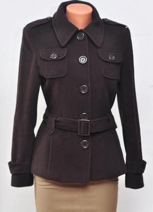Шерстяное пальто шоколадного цвета. 70% шерсть.