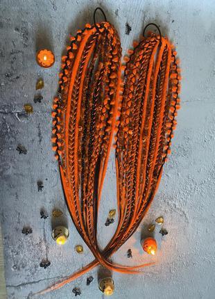 Шикарные афрорезинки из дредов и кос оранжево чёрные на хеллоуин
