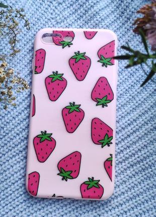 Рожевий чохол з полуницю на iphone 7+ 8+  милый розовый чехол с клубникой на iphone 7+ 8+