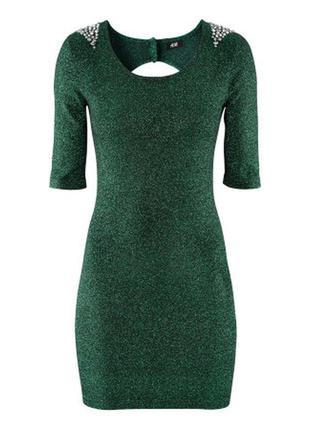 Зеленое блестящее платье h&m, 34