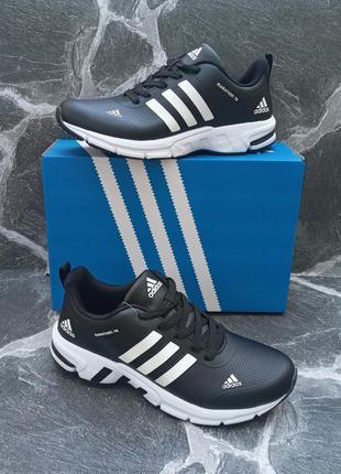 Мужские кожаные кроссовки adidas marathon кожаные.черные
