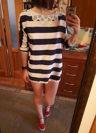 Рубашка блуза блузка туника матроска с кружевом