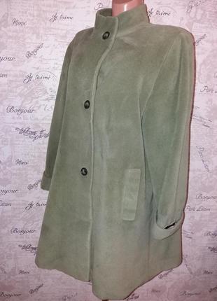 Пальто  delia ferrari чистая шерсь xxl-xxxl. большой размер. оливковый цвет.