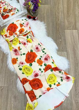 Шикарное цветастое платье по фигуре с бантом 🥰