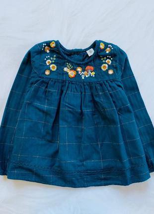 Tu стильная  фланелевая блузка на девочку 3-4 года