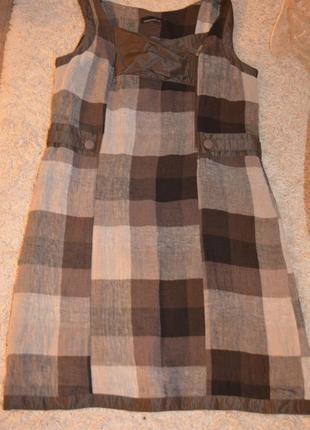 Леегкое платье-сарафан из льна, шахматка, офисный стиль