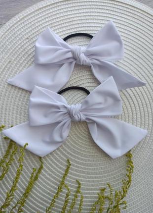 Бантики для волосся банти білі