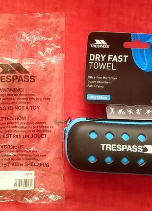 Спортивное полотенце trespass, 60x120 см, голубое