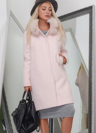 Зимнее пальто кокон пудра