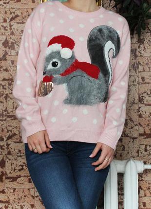 Новогодний свитер с 3d аппликацией шарфик в подарок