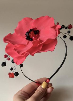 Обруч красный цветок, обруч мак, ободок с цветком
