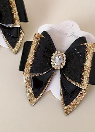 Черно золотые бантики, нарядные банты, резинка бант