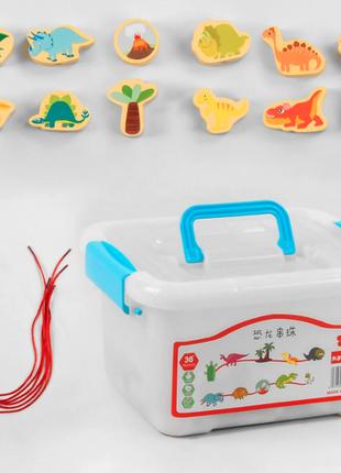 """Деревянная игра шнуровка """"динозавры"""" (54 элемента, в чемодане)"""