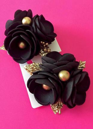 Черная резинка, черные цветы , розы на резинке, резинка с розами