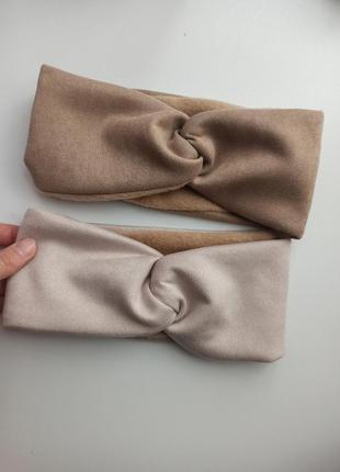 Замшева повязка екозамш на флісі чалма на голову тепла