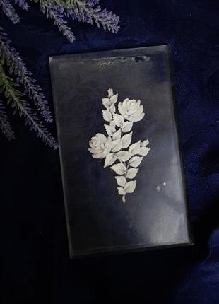 Панно картина ссср оргстёкло плексиглас розы декоративное крышка резное стекло советское