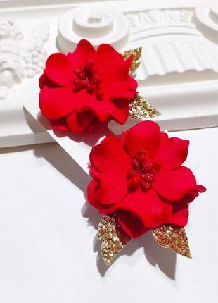 Заколки красные цветы, цветы заколки, детские заколки