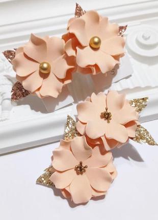 Заколки цветочки, персиковые цветы, детские заколки резинки