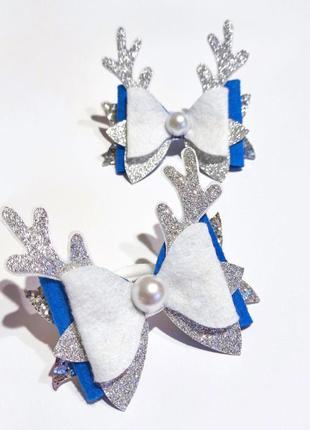 Новогодние бантики с рожками оленя, детские резинки, бантик резинка