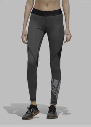 Темно сірі спортивні лосіни adidas, лосины оригинал