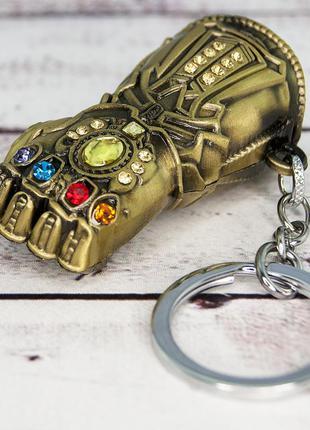 Подвеска-брелок объемный мстители перчатка бесконечности античное золото + подарок